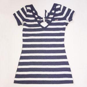 3/$25 HOLILSTER navy striped mini dress size L